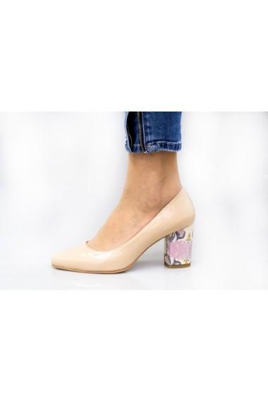 Pantofi cu toc Thea Visconti nude cu toc cu imprimeu floral