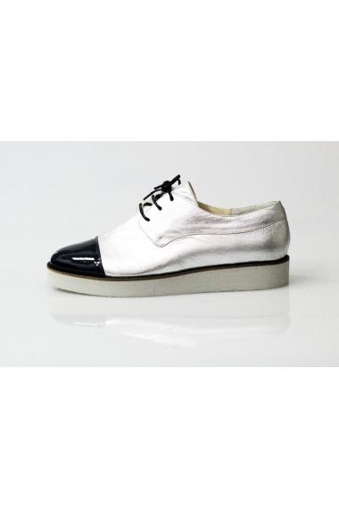 Pantofi Thea Visconti argintiu-bleumarin