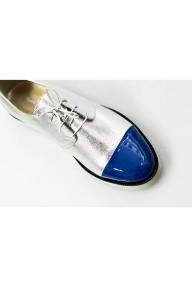 Pantofi Thea Visconti argintiu-albastru cu talpa ortopedica