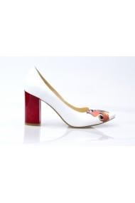 Pantofi cu toc pentru femei Thea Visconti albi cu fluture rosu