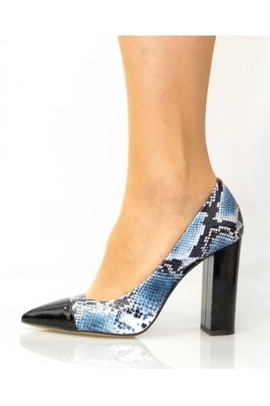Pantofi cu toc Thea Visconti albastri cu snake-print