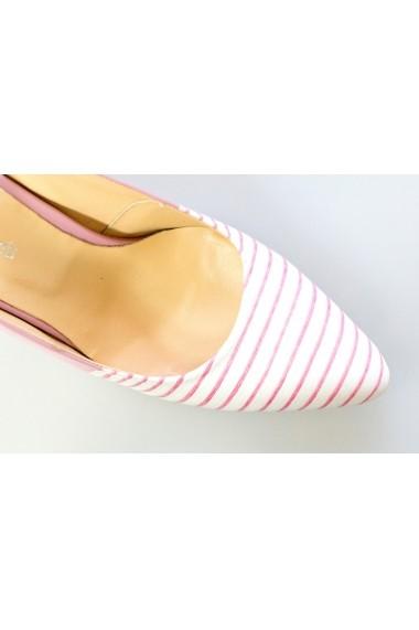 Pantofi cu toc-sandale Thea Visconti roz-dungi cu roz