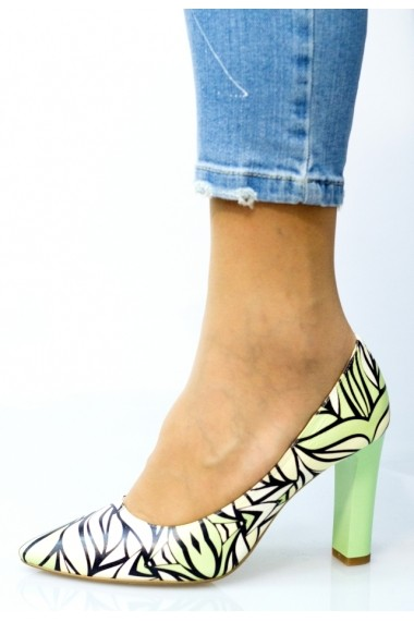 Pantofi cu toc Thea Visconti cu print frunze verzi