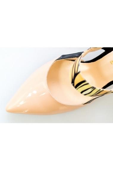 Pantofi cu toc-sandale Thea Visconti 1253 cu print frunze apricot