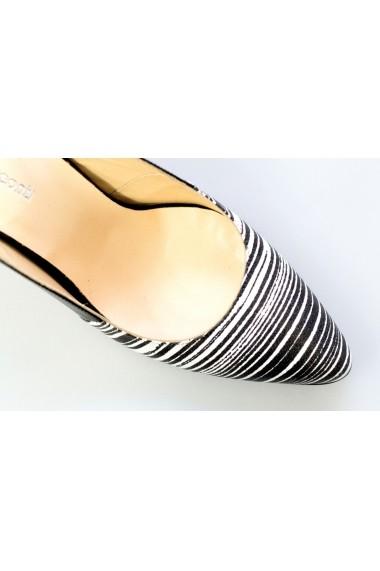 Pantofi cu toc-sandale Thea Visconti negru-albi