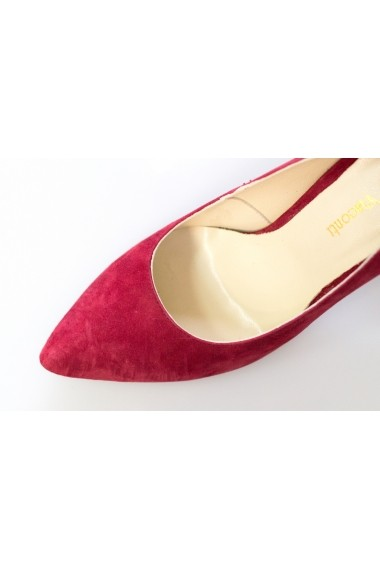 Pantofi cu toc Thea Visconti visinii cu toc imprimat
