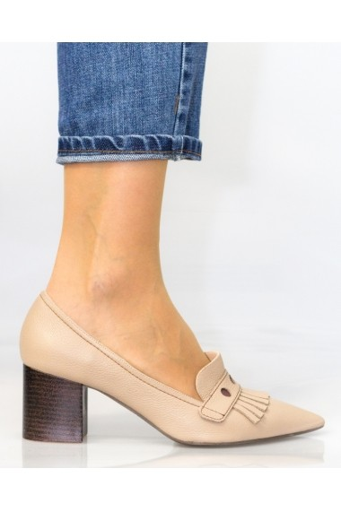 Pantofi cu toc Thea Visconti bej cu toc gros