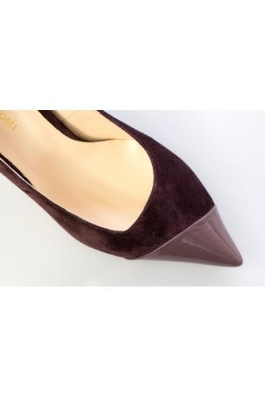 Pantofi cu toc pentru femei Thea Visconti visinii cu lac taupe