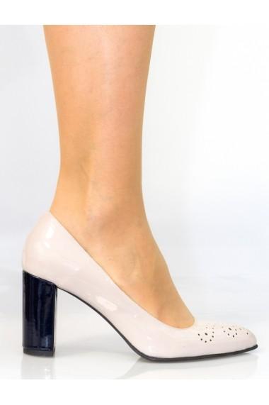 Pantofi cu toc Thea Visconti bej cu perforatii pe varf