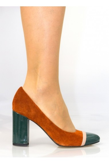 Pantofi cu toc pentru femei Thea Visconti caramiziu cu bej si turcoaz