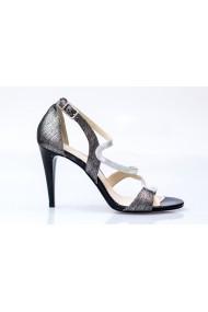 Sandale cu toc pentru femei Thea Visconti Julia argintiu-fumuriu