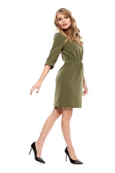 Rochie de zi olive Carmencita cu elastic in talie