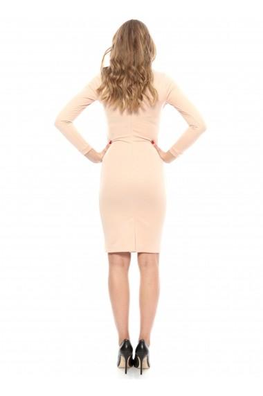 Rochie roz pastel Carmencita midi cu maneca lunga