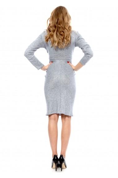 Rochie bleu Carmencita tricotata cu maneca lunga