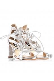 Sandale argintii Roserry din piele naturala cu siret