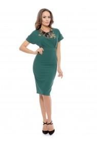 Rochie verde Roserry midi din stofa eleganta