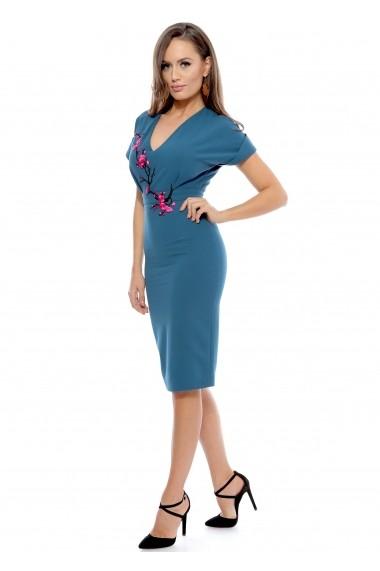 Rochie albastra Roserry midi din stofa eleganta