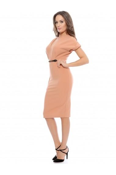 Rochie peach Roserry midi din stofa eleganta