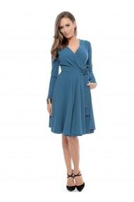 Rochie albastra Roserry petrecuta din stofa eleganta