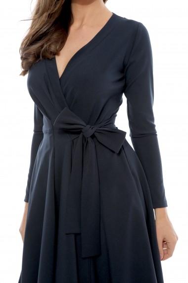 Rochie bleumarin Roserry petrecuta din stofa eleganta