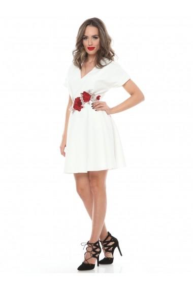 Rochie alba Roserry clos din stofa eleganta cu aplicatie florala