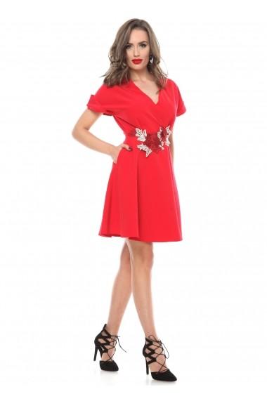 Rochie rosie Roserry clos din stofa eleganta cu aplicatie florala