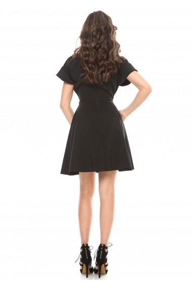 Rochie neagra Roserry clos din stofa eleganta cu aplicatie pe guler