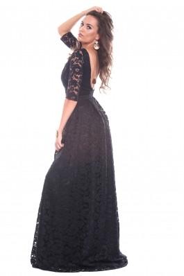 Rochie neagra Roserry lunga din dantela cu spate gol