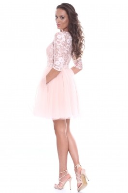 Rochie roz Roserry din dantela si tulle