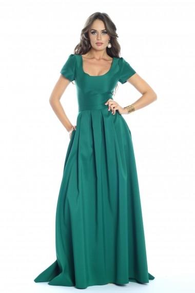Rochie verde Roserry lunga din tafta