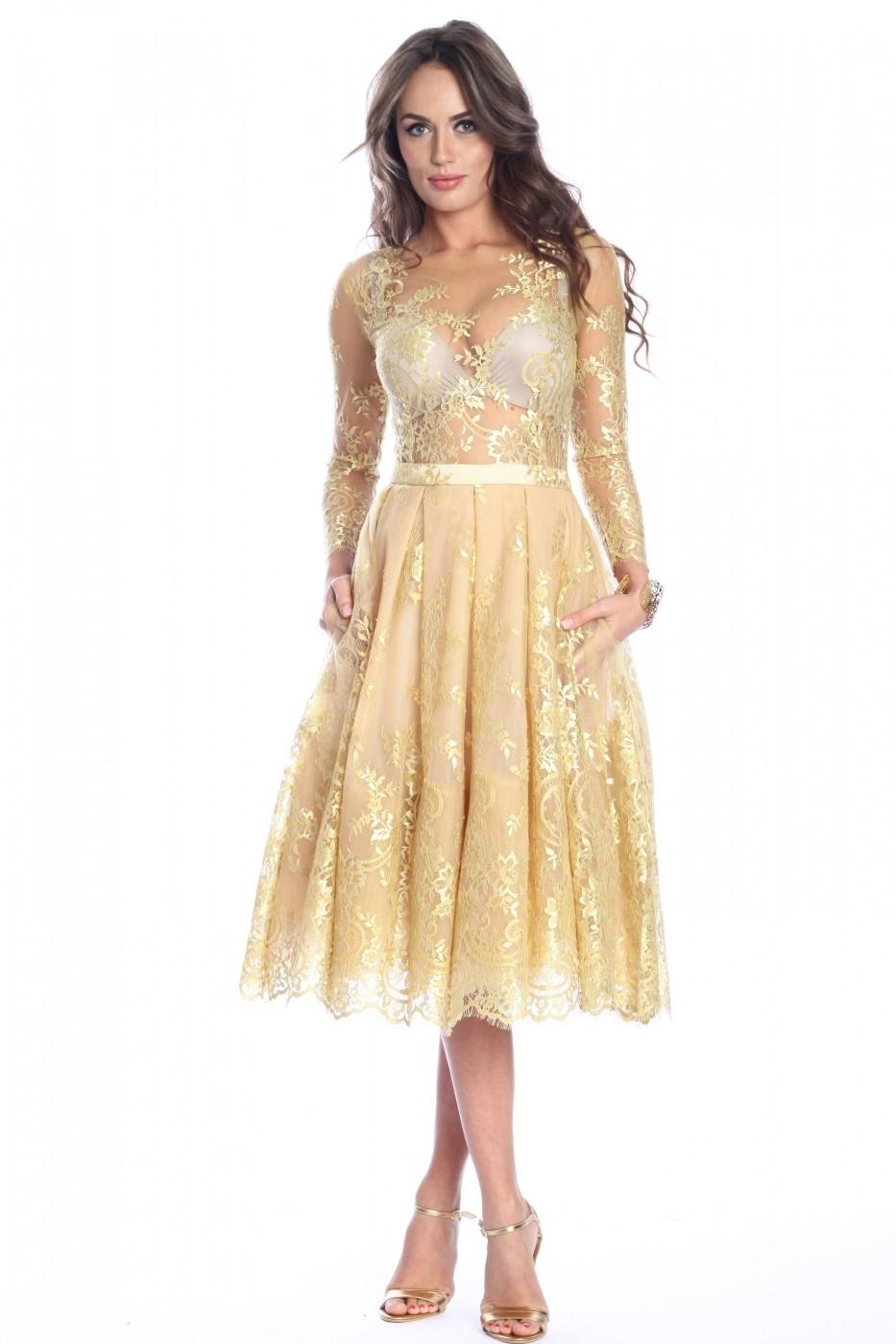 Rochie Galbena Roserry Clos Din Dantela Fashionup