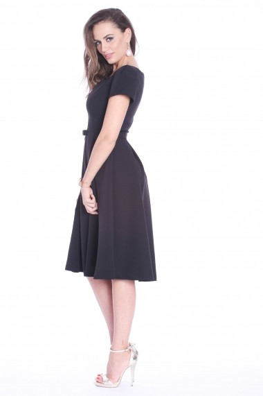 Rochie neagra Roserry clos din stofa eleganta