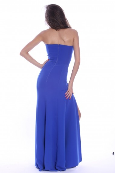 Rochie albastra Roserry lunga din stofa eleganta