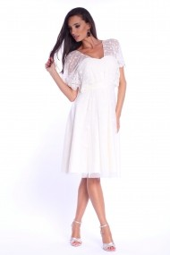 Rochie alba Roserry clos din tulle brodat