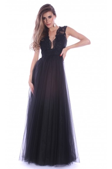 Rochie neagra Roserry lunga din broderie si tulle - CRM 1RSY251