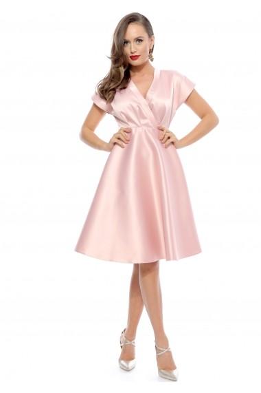 Rochie roz Roserry din tafta satinata