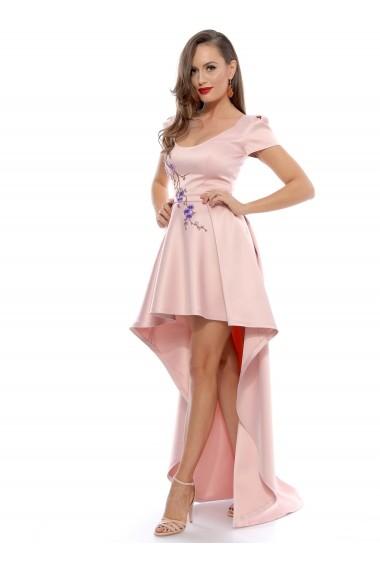 Rochie roz Roserry asimetrica din tafta