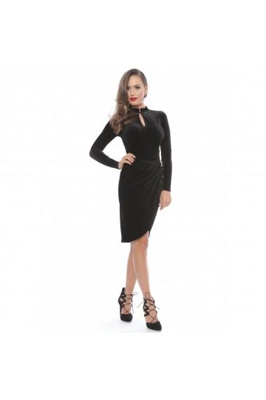 Rochie de seara neagra Roserry petrecuta din catifea 1RSY303
