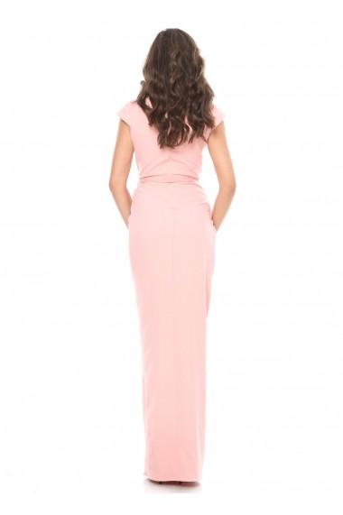 Rochie roz Roserry lunga cu bust si fusta petrecuta