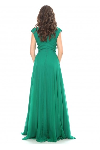 Rochie verde Roserry lunga din matase naturala cu bust petrecut
