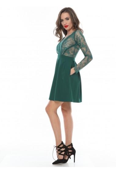 Rochie verde Roserry clos cu bust din broderie si aplicatii