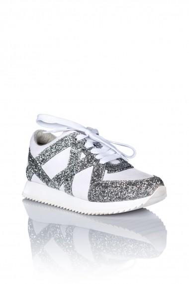 Adidasi NISSA de piele decorati cu gliter Alb/Argintiu