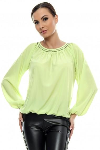 Bluza pentru femei marca Crisstalus Verde deschis, din vascoza si matase