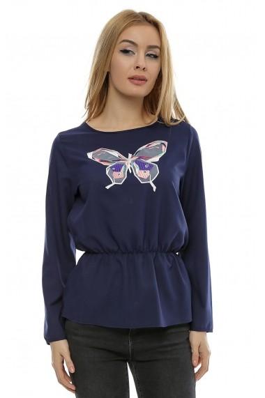 Bluza navy cu aplicatie broderie fluture b99