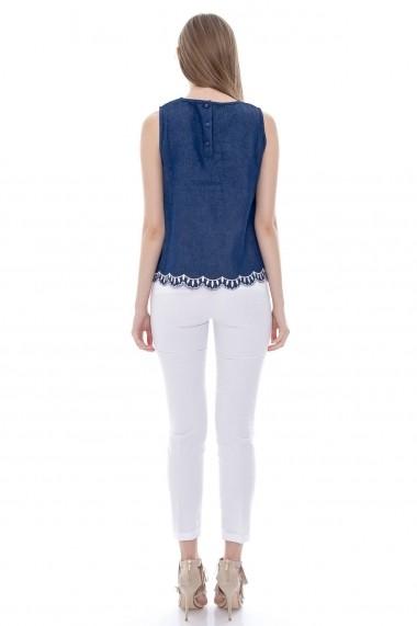 Bluza Roh Boutique din blug brodata - BR976 albastru