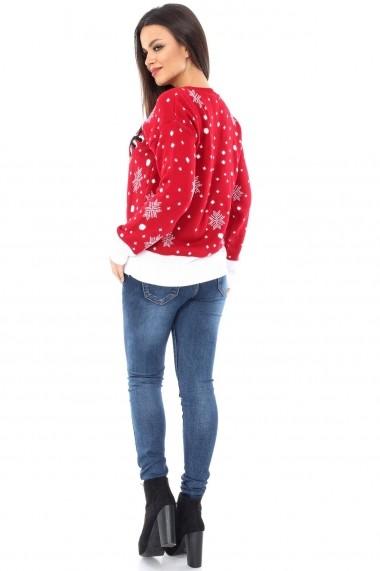 Pulover Roh Boutique cu imprimeu ren - BR636 rosu