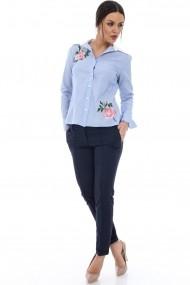 Camasa Roh Boutique albastra cu broderie doua flori - BR1234 albastru|alb