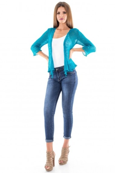 Bolero Roh Boutique handmade - BR1098 teal One Size