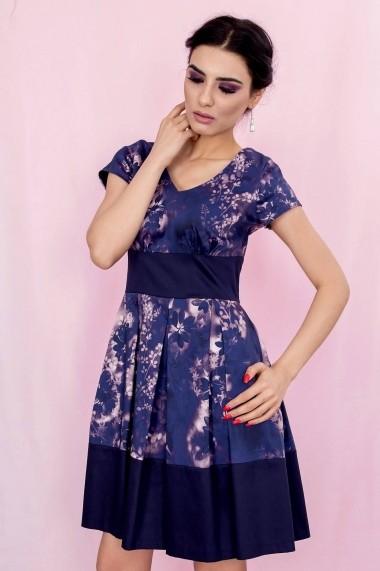 Rochie Roh Boutique in contrast - DR2396 bleumarin cu roz