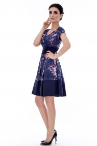 Rochie Roh Boutique in contrast - DR2396 bleumarin cu roz
